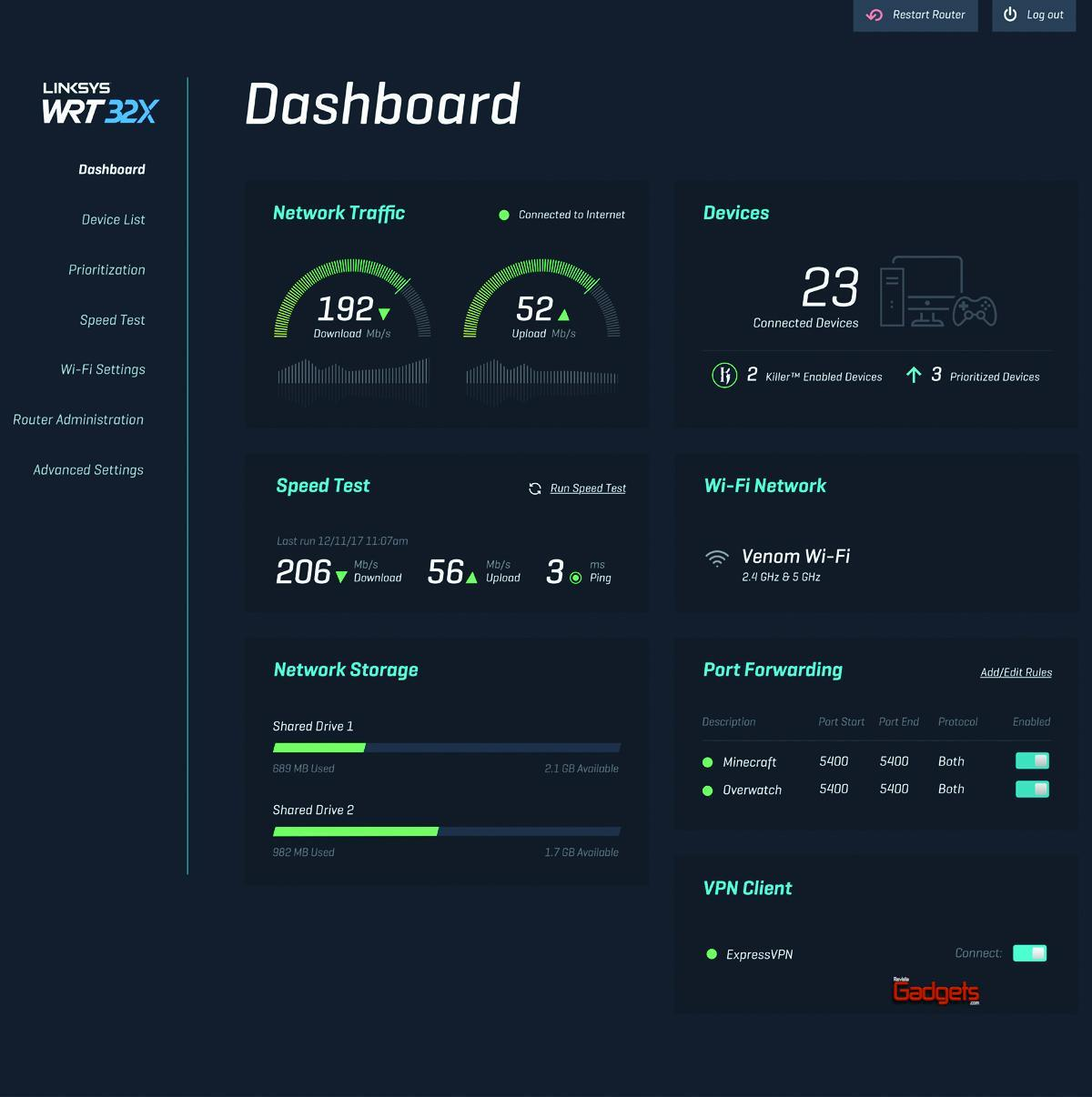 Linksys WRT32X Software dashboard